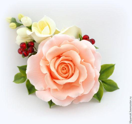 Броши ручной работы. Ярмарка Мастеров - ручная работа. Купить Брошь с розой и фрезиями. Handmade. Бежевый, цветы ручной работы