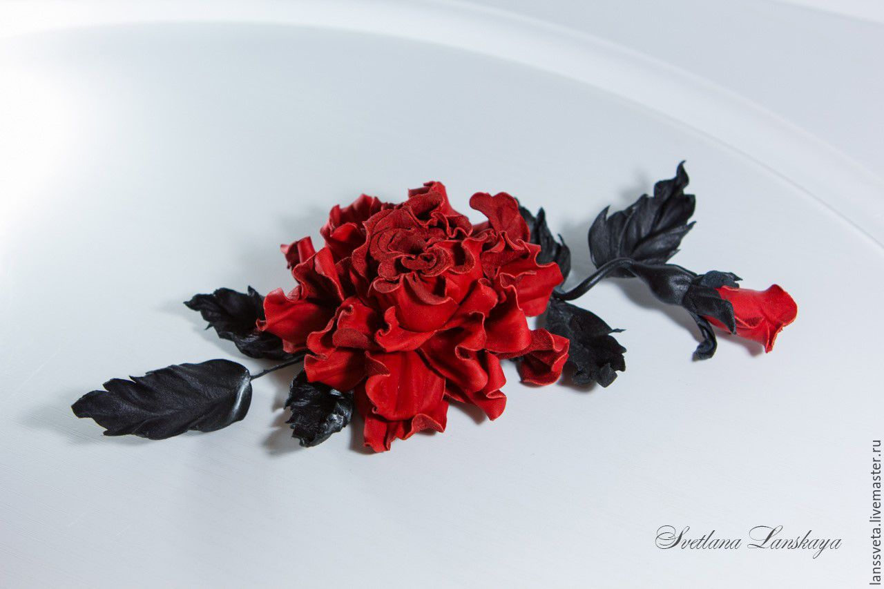 Decoration leather rose Red. Brooch leather Red and black, Brooches, Bobruisk,  Фото №1