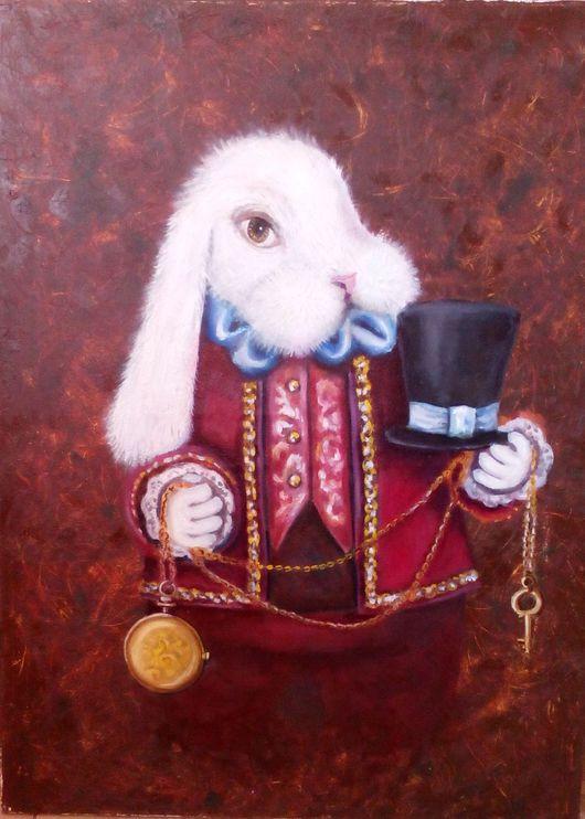 Фэнтези ручной работы. Ярмарка Мастеров - ручная работа. Купить Картина Белый кролик. Handmade. Комбинированный, игрушки в картинах