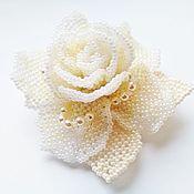 Украшения handmade. Livemaster - original item Brooch-pin: CREAM ROSE.  Cream rose. A beaded brooch. Handmade.