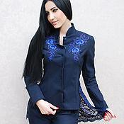 """Одежда handmade. Livemaster - original item Нарядный женский костюм с вышивкой """"Дельфиниум"""" брючный костюм. Handmade."""