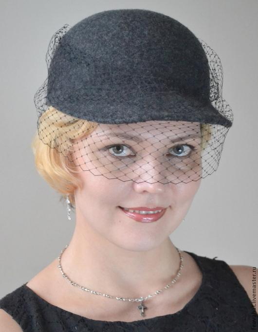 Шляпы ручной работы. Ярмарка Мастеров - ручная работа. Купить Кепка с вуалью серая. Handmade. Темно-серый, кепка женская