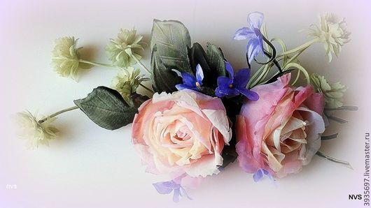 Диадемы, обручи ручной работы. Ярмарка Мастеров - ручная работа. Купить веточка роз. Handmade. Коралловый, цветы в прическу