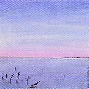 Картины и панно ручной работы. Ярмарка Мастеров - ручная работа Картина пастелью Зимний Этюд голубой розовый зима снег. Handmade.