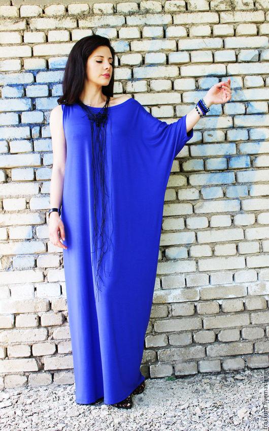 Платья ручной работы. Ярмарка Мастеров - ручная работа. Купить Длинное платье -  синее / D0006. Handmade. Платье