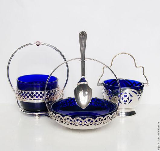 Винтажная посуда. Ярмарка Мастеров - ручная работа. Купить 3 вазочки (сахарницы, солонки и т.д.). Handmade. Серебряный
