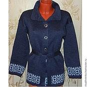 Одежда handmade. Livemaster - original item Coat knit jeans. Handmade.