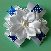 Работы для детей, handmade. Livemaster - original item Blue and white bows to school. Handmade.