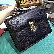 Сумки и аксессуары handmade. Livemaster - original item Men`s briefcase, crocodile leather, in dark blue.. Handmade.
