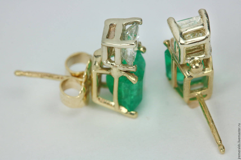 Earrings Handmade Emerald And Diamond Stud 18k Yellow Gold