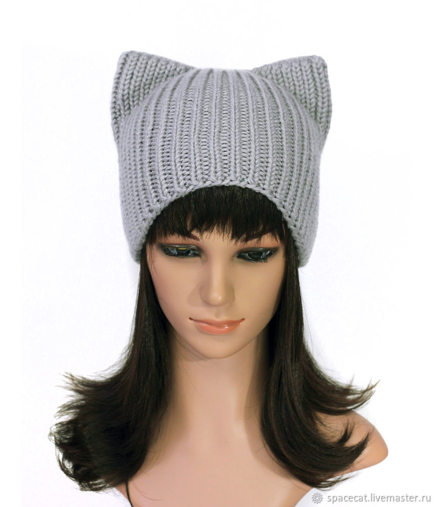 Hat with ears Cat Gray, women's knitted elastic band, Caps, Orenburg,  Фото №1