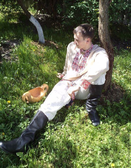 Одежда ручной работы. Ярмарка Мастеров - ручная работа. Купить Рубаха мужская с вышивкой. Handmade. Рубаха в русском стиле, зеленый