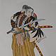 ручной работы. Ярмарка Мастеров - ручная работа. Купить Самурай. Handmade. Япония, разноцветный, акварель, Самурай, японская гравюра