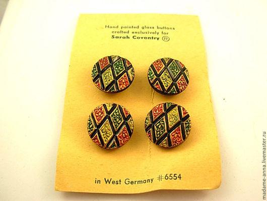 """Шитье ручной работы. Ярмарка Мастеров - ручная работа. Купить Пуговицы """"Мозаика"""" (4 штуки) от Sarah Coventry, винтаж 1972 год. Handmade."""