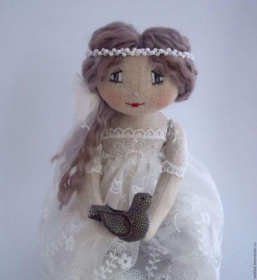 Коллекционные куклы ручной работы. Ярмарка Мастеров - ручная работа. Купить Куколка по мотивам фарфалеток. Handmade. Белый, куколка, лён