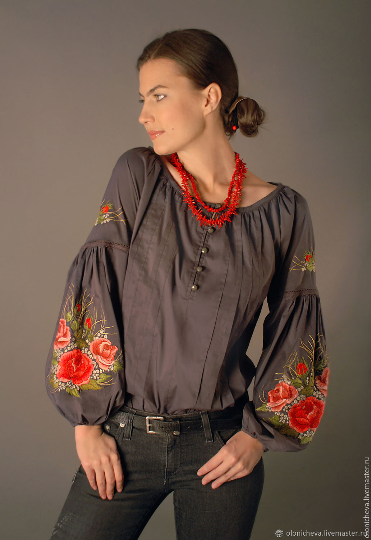 """Серая вышитая блуза """"Очарование роз"""" ручная вышивка гладью, Блузки, Винница,  Фото №1"""