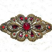 Винтаж handmade. Livemaster - original item Brooch Rubies in lace, openwork brooch, ,20s-40s, Europe, gilding. Handmade.