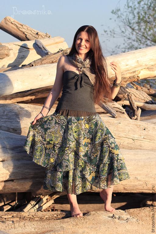 Юбки ручной работы. Ярмарка Мастеров - ручная работа. Купить юбка МЕЛИССА. Handmade. Зеленый, трава, огурцы пейсли
