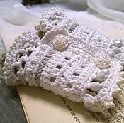 Украшения handmade. Livemaster - original item Cuff Bracelet Of Textile Knitted Boho Wide White Grey Len. Handmade.