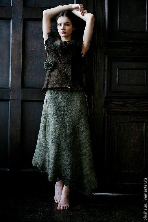 Юбки ручной работы. Ярмарка Мастеров - ручная работа. Купить Валяная юбка «Сафари». Handmade. Оливковый, шерсть