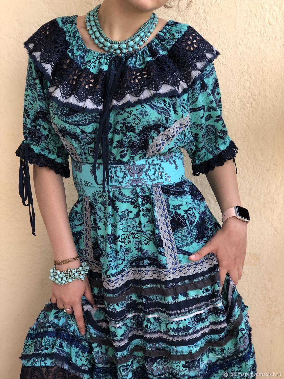 d3fb5a64d1d Boho dress blue-turquoise. PolMary. My Livemaster.Boho chic Dresses  handmade.
