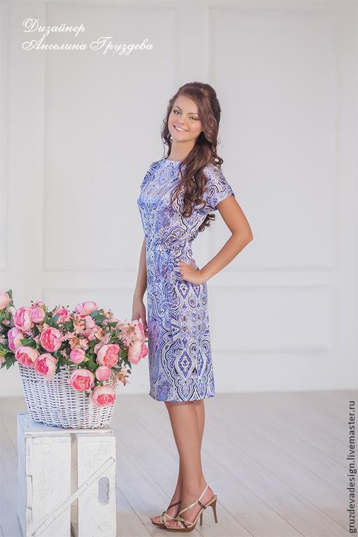 Платья ручной работы. Ярмарка Мастеров - ручная работа. Купить Etro платье с орнаментом. Handmade. Синий, повседневное платье