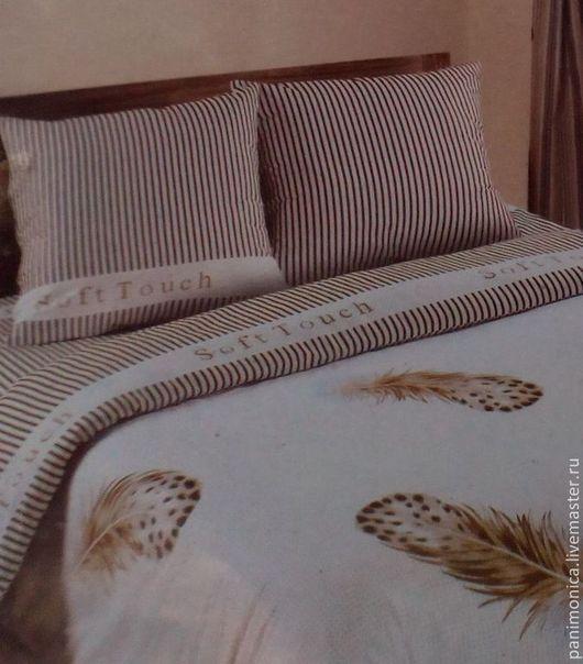 Текстиль, ковры ручной работы. Ярмарка Мастеров - ручная работа. Купить Комплект постельного белья из поплина Перышко, эко-дом. Handmade.