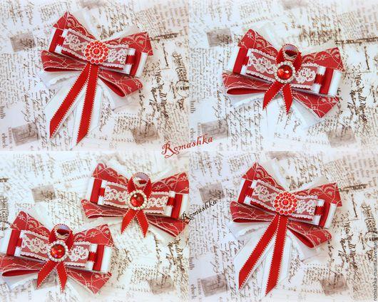 Школьный комплект для девочки `Школьница` состоит из броши-галстука и бантиков на резинках в бордово-белом цвете.Сочные краски и нежность кружева украсят Ваш образ и сделают его  неповторимым. Подобны