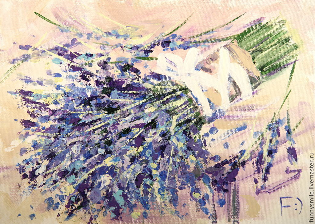 Oil painting on canvas. Bouquet of lavender, Pictures, Moscow,  Фото №1
