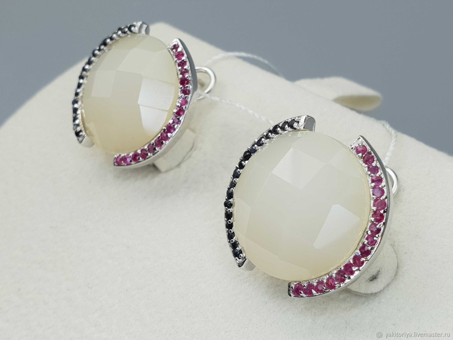 Silver earrings with sapphire, ruby and quartz, Earrings, Moscow,  Фото №1