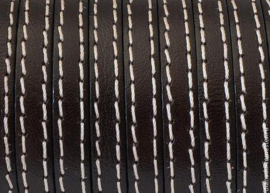 Для украшений ручной работы. Ярмарка Мастеров - ручная работа. Купить Кожаный шнур 5х2мм с прострочкой, коричневый, бежевый. Handmade.