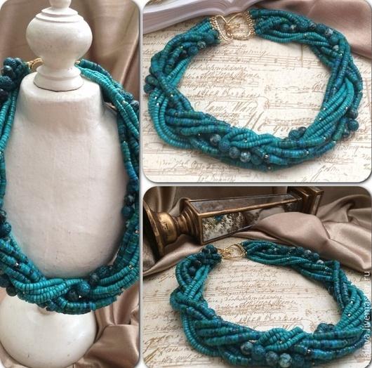 Роскошное Бирюзовое ожерелье колье на шею из натуральных камней бирюзы