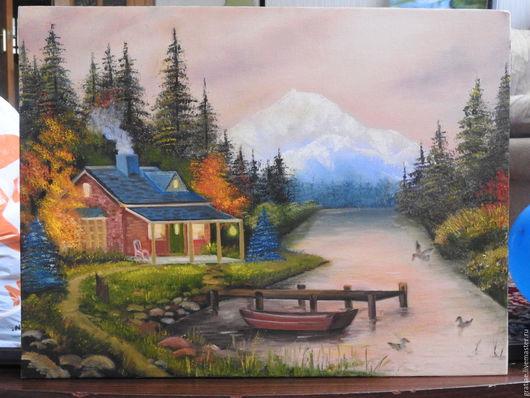 Пейзаж ручной работы. Ярмарка Мастеров - ручная работа. Купить домик в лесу. Handmade. Дом, лес, утки, лодка, деревья