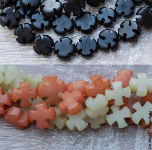 Для украшений ручной работы. Ярмарка Мастеров - ручная работа. Купить Бусины в форме креста из семян пальмы Buri. Handmade.
