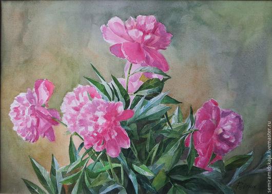 Картины цветов ручной работы. Ярмарка Мастеров - ручная работа. Купить Пионы. Handmade. Розовый, интерьер спальни
