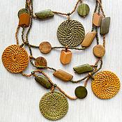 Украшения handmade. Livemaster - original item Beads of wood and rattan