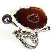 Украшения handmade. Livemaster - original item super! Stylish grotesque ring with caramel agate Geode. Handmade.
