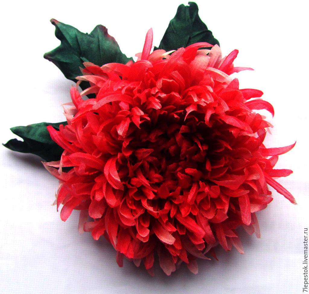 Brooch chrysanthemum light silk flowers shop online on livemaster brooch chrysanthemum light silk flowers elena 7 lepestok fair masters mightylinksfo