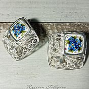 handmade. Livemaster - original item Gloria finift earrings, 999 silver. Handmade.