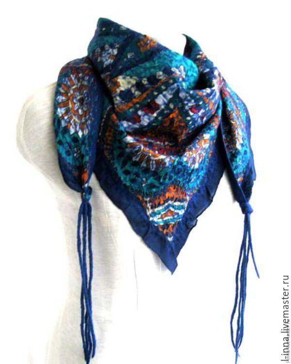 Петушки синие бактус шарф валяный зимний оригинальный, Шарфы, Новосибирск, Фото №1
