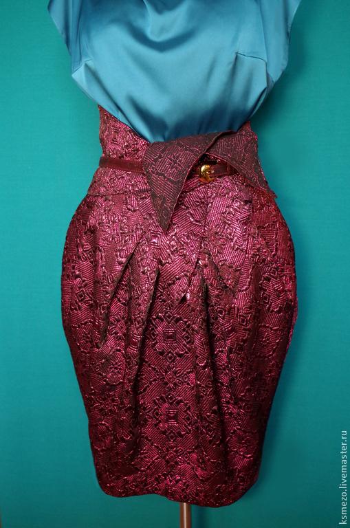 """Юбки ручной работы. Ярмарка Мастеров - ручная работа. Купить Юбка-тюльпан """"Рубин"""". Handmade. Юбка-тюльпан из парчи"""