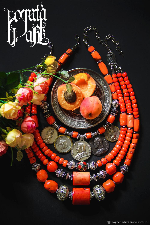 Коралловый комплект колье с дукачами, Колье, Львов,  Фото №1