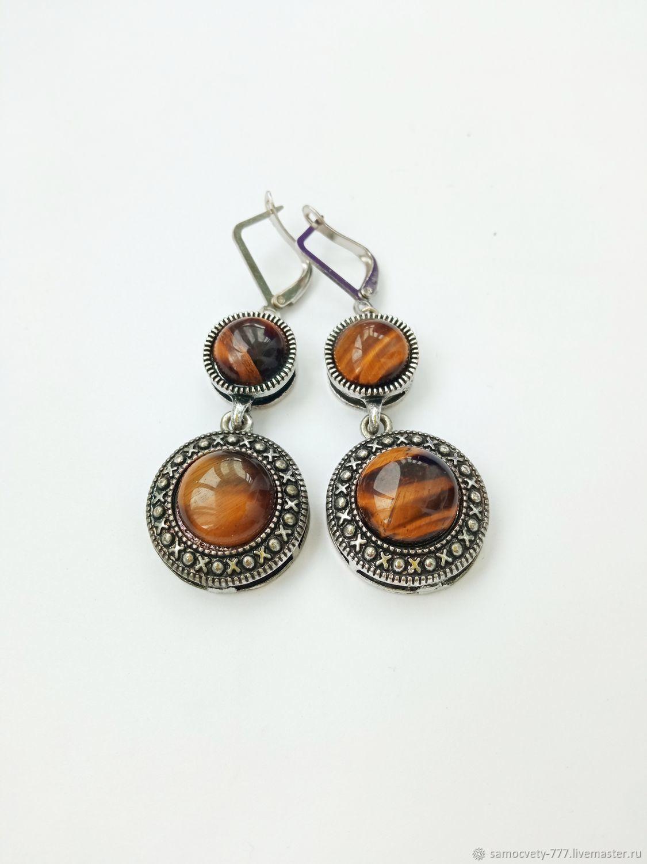 Beautiful tiger eye earrings', Earrings, Feodosia,  Фото №1