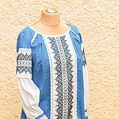 """Одежда ручной работы. Ярмарка Мастеров - ручная работа Блуза женская """"Cинь"""", вышиванка. Handmade."""