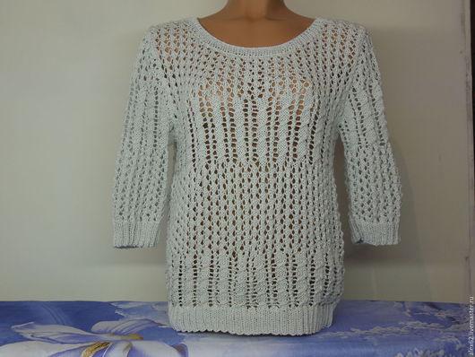 Кофты и свитера ручной работы. Ярмарка Мастеров - ручная работа. Купить Пуловер ажурный. Handmade. Серый, вязанный, хлопок мерсеризованный