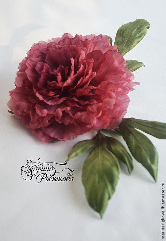 """Цветы ручной работы. Ярмарка Мастеров - ручная работа. Купить Пион """"Valery"""". Handmade. Коралловый, брошь-цветок"""