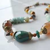 Работы для детей, handmade. Livemaster - original item beads: Beads short AUTUMN FOREST agate amazonite. Handmade.