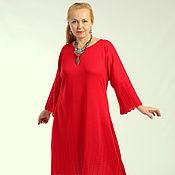 """Одежда ручной работы. Ярмарка Мастеров - ручная работа Вязаное платье """"Бохо нежность"""" красный алый цветок. Handmade."""