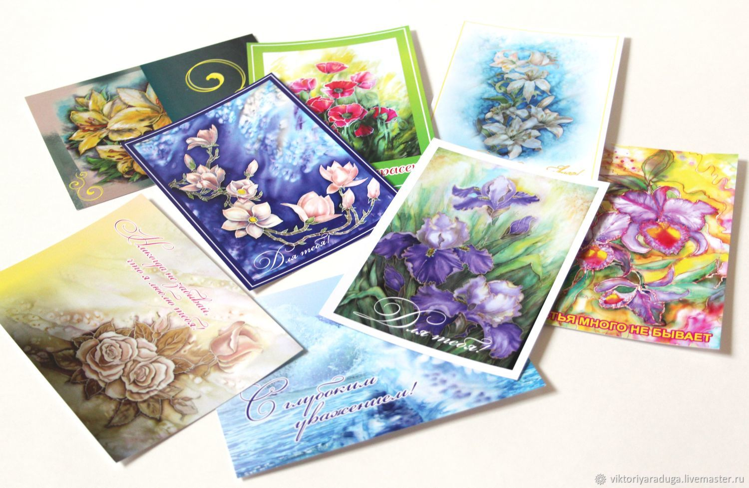 A set of author cards batik shop online on livemaster with author cards greeting cards cards with flowers greeting card for any occasion m4hsunfo
