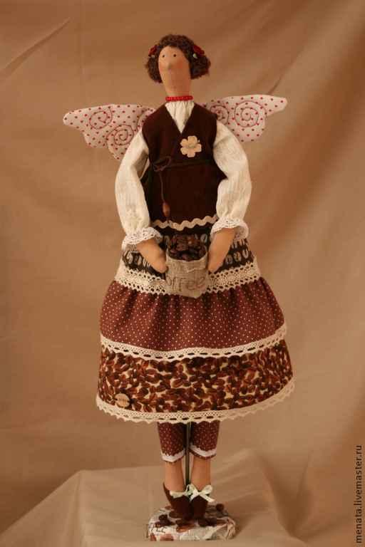 Куклы Тильды ручной работы. Ярмарка Мастеров - ручная работа. Купить Глафира - кофейный ангел. Handmade. Кукла ручной работы